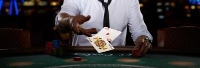 blackjack table, player and cards